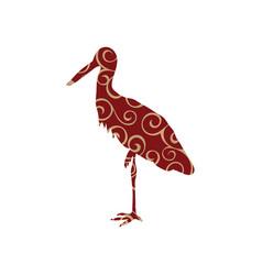 heron bird color silhouette animal vector image