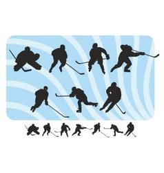 hockey silhouettes set vector image