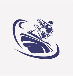 jet ski stylized symbol rider on jet ski vector image