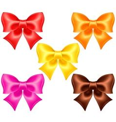 Silk bows in warm colors vector image vector image