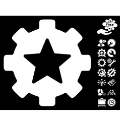 Star Favorites Options Gear Icon with Tools vector image vector image