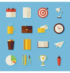 Flat Business and Office Objects Set with Shadow vector image