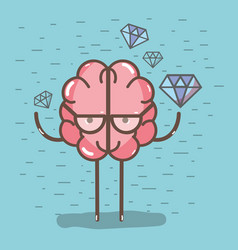 icon adorable kawaii brain with a lot of diamond vector image vector image
