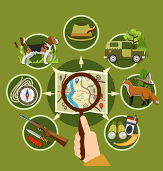 professional hunter and equipment concept vector image