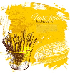 Vintage fast food background vector image vector image