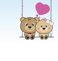 Wedding bears sitting on a swing vector image vector image