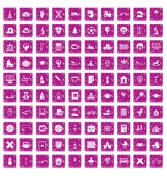 100 kids icons set grunge pink vector