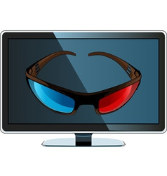 3D monitor and glasses vector image vector image