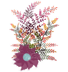 Abstract composition pink wild flower and vector