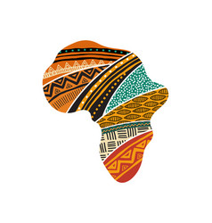 African map silhouette with a traditional pattern vector