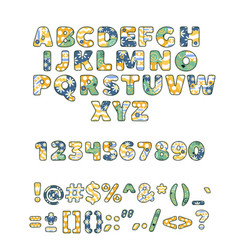 alphabet patchwork handmade patch work abc vector image