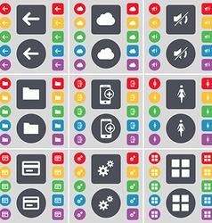 Arrow left Cloud Mute Folder Smartphone Silhouette vector image