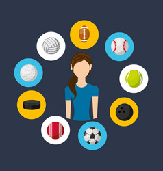 athlete avatar with sports equipment vector image