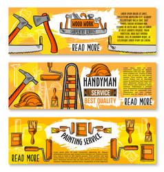 Banners of home repair sketch work tools vector