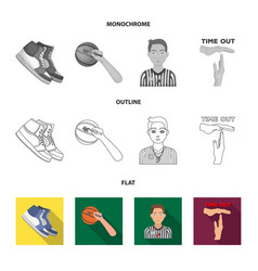 Basketball and attributes flatoutlinemonochrome vector
