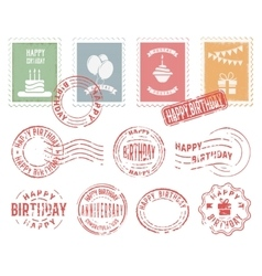 Birthday Colorful Postal Stamps Set vector image