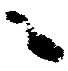 Black silhouette country borders map of malta on vector