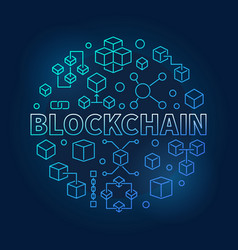 Blockchain technology blue modern round vector