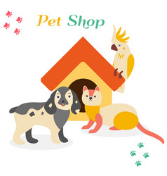 Bright images of domestic animals parrot dog and vector