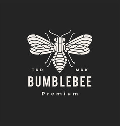 bumble bee monoline hipster vintage logo icon vector image