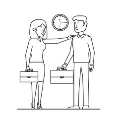 Business couple with portfolio avatar character vector