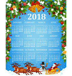 calendar template with xmas and new year symbols vector image