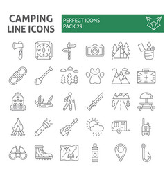 Camping thin line icon set hiking symbols vector
