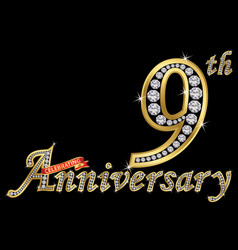celebrating 9th anniversary golden sign vector image