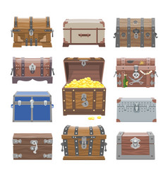 Chest treasure box with gold money wealth vector