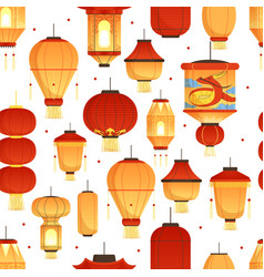 china lanterns pattern asian traditional new year vector image