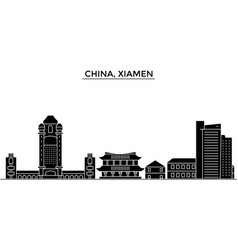 china xiamen architecture urban skyline with vector image