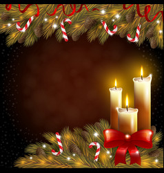 Christmas candles and a fir tree vector image