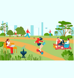 city park with people recreations in summer vector image