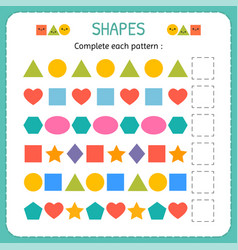 Complete each pattern learn shapes and geometric vector