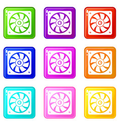 Computer fan icons 9 set vector