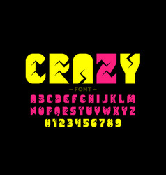 Crazy style font alphabet letters and numbers vector