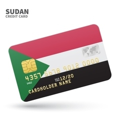 Credit card with Sudan flag background for bank vector image vector image