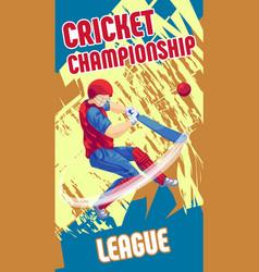 Cricket league concept banner cartoon style vector