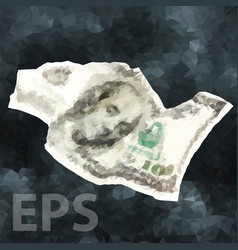 crumpled one hundred dollar cash money vector image