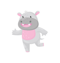 Cute smiling adorable hippo lovely behemoth vector