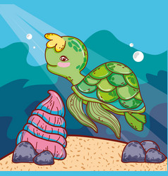 Cute turtle animal with shell in the sea vector