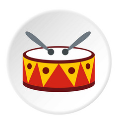 drum with sticks icon circle vector image