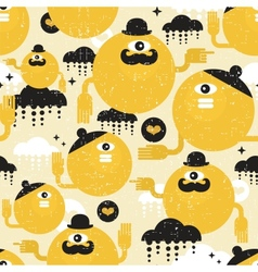 eamless texture with yellow monsters vector image