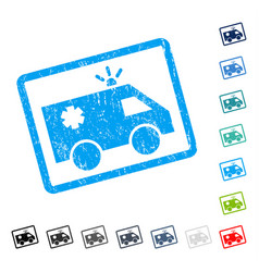 emergency car icon rubber watermark vector image