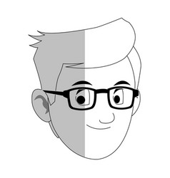 Face of handsome young man with glasses icon image vector
