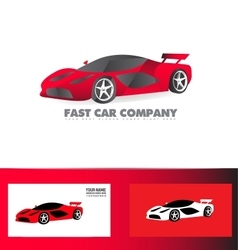Fast sport car logo red vector