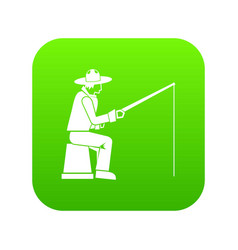 fisherman with a fishing rod icon digital green vector image