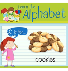 Flashcard letter C is for cookies vector image