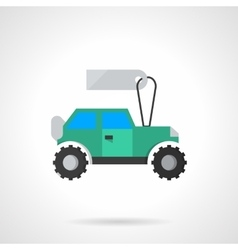 Flat blue SUV with tag icon vector