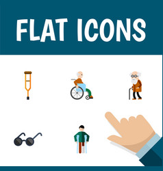 Flat icon disabled set of ancestor spectacles vector